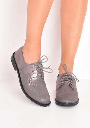Metallic Lace Up Brogue Shoes Grey