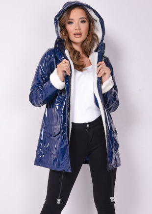 High Shine Rain Mac Fully Lined Festival Hooded Coat Borg Navy Blue