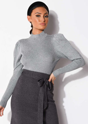 Puff Sleeve Metallic Ribbed Knit High Neck Jumper Top Silver Grey