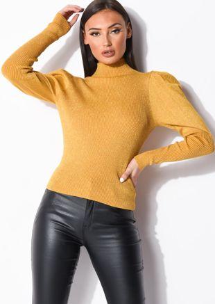 Metallic Ribbed Knit High Neck Jumper Top Yellow