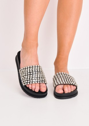 Metallic Studded Strap Sliders Black