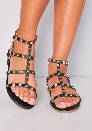 Metallic Studded Strappy Gladiator Sandals Flats Black