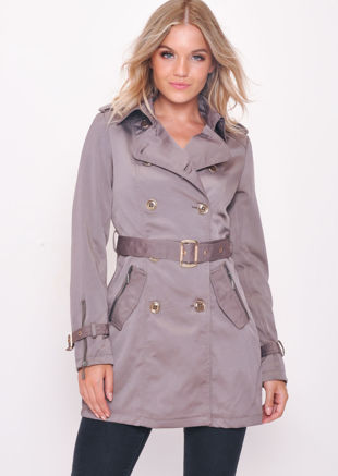 Mid Length Double Breasted Trench Coat Grey