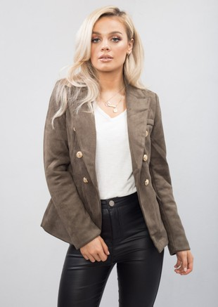 Military Style Tailored Blazer Jacket Khaki