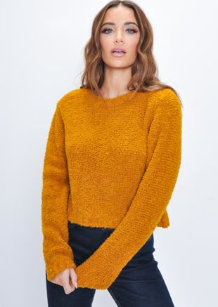 Textured Wool Cropped Jumper Orange