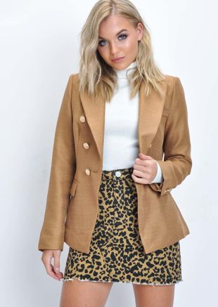 Military Style Tailored Button Blazer Jacket Camel Beige