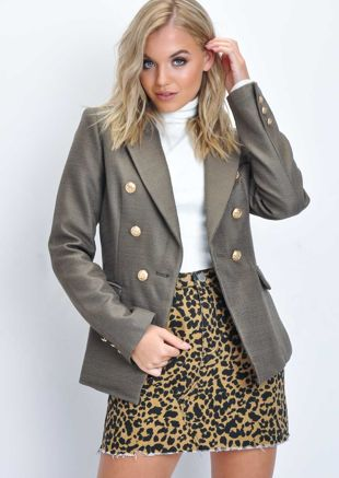 Military Style Tailored Button Blazer Jacket Khaki Brown