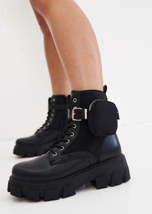 Pu Buckle Belted Pouch Side Lace Up Chunky Ankle Boots Black