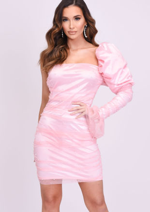 Puff One Shoulder Tulle Pearl Mesh Mini Dress Pink