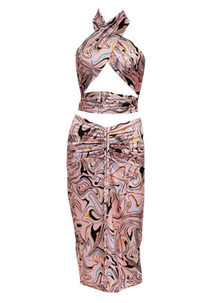 Multiway Abstract Halterneck Crop Top And Front Ruched Midi Skirt Co-Ord Set Pink