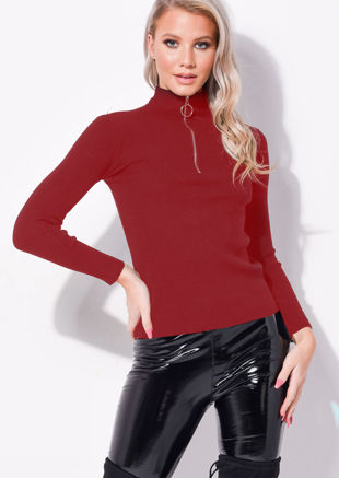 Zip Up High Neck Ribbed Jumper Top Dark Red