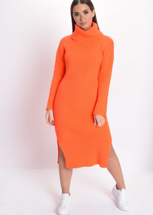 Neon Knit Roll Neck Midi Dress Orange