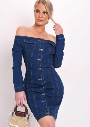 Off Shoulder Button Through Bodycon Mini Dress Blue