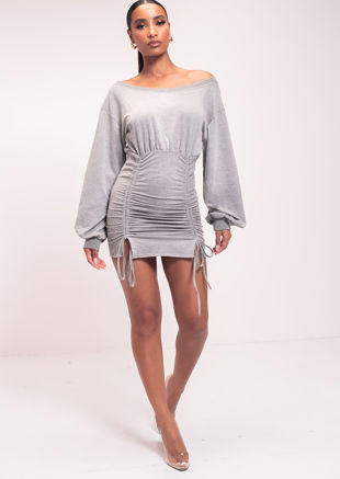 Off Shoulder Front Ruched Drawstring Detail Long Sleeves Sweater Dress Grey