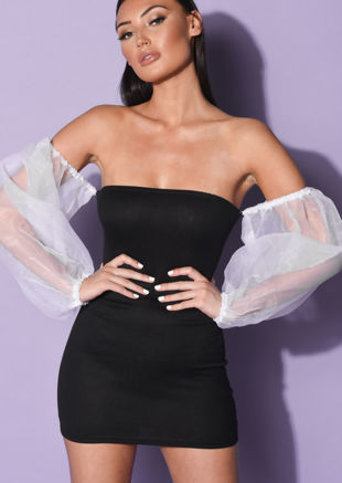 Off Shoulder Organza Puff Long Sleeve Mini Bodycon Dress Black