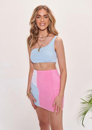 One Shoulder Crop Top Contrast Stitch Mini Skirt Co-Ord Set Blue