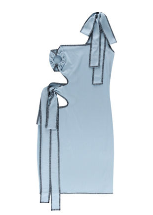 One Shoulder Exposed Seam Detail Side Cut Out Mini Dress Blue