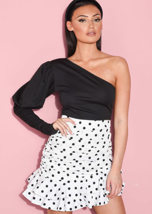 One Shoulder Puffed Long Sleeve Crop Top Black