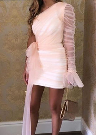One Shoulder Tulle Drape Mini Dress Pink