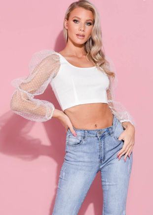 Organza Polka Dot Mesh Puff Long Sleeve Crop Top White