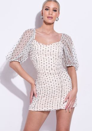 Organza Polka Dot Puffed Sleeve Ruched Mini Bodycon Dress Pink