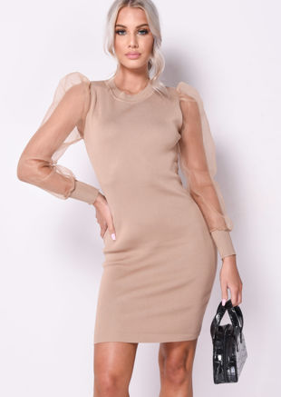 Organza Puff Sleeve Midi Knitted Jumper Dress Beige