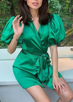 Organza Puff Sleeve Wrap Front Satin Dress Green