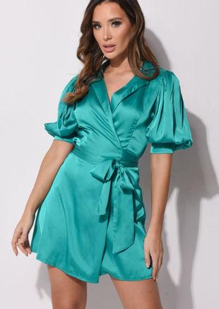 Puff Sleeve Wrap Front Satin Dress Green