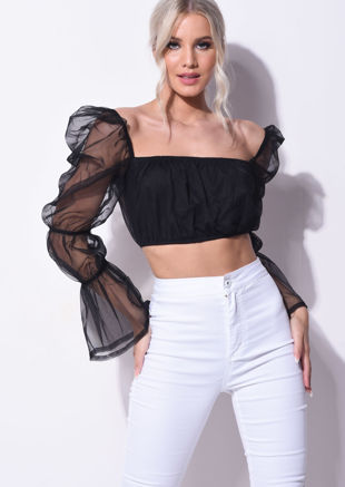 Organza Sheer Puff Sleeve Crop Top Black