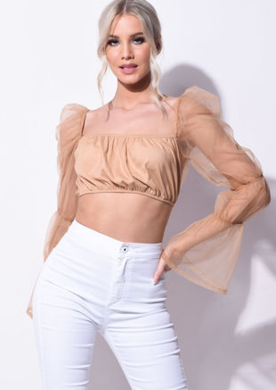 Organza Sheer Puff Sleeve Crop Top Nude Brown