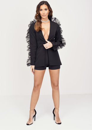 Organza Sleeve Detail Blazer Short Co ord Set Black