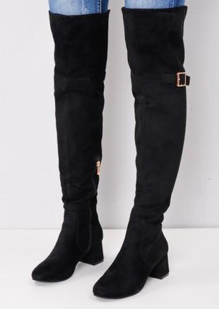 c0f4404d83a0 Over the Knee Buckle Block Heel Boots Black