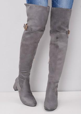 Over the Knee Buckle Block Heel Boots Grey