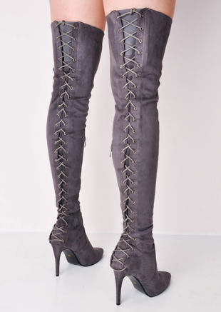 830b5245d over the knee thigh high faux suede lace up back stiletto heel long boots  grey