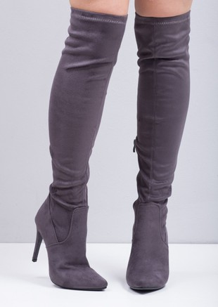 6f3d554f49db Over the Knee Thigh High Faux Suede Pointed Stiletto Long Boots Grey