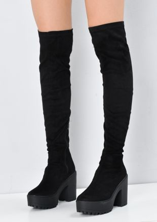 Knee High Chunky Platform Cleated Over The Knee Boots Black