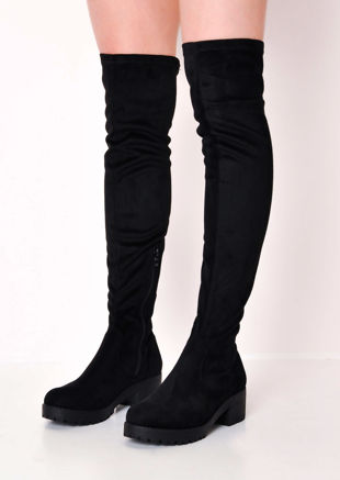 Knee High Platform Cleated Over The Knee Chunky Faux Suede Boots Black cd4c8d3952