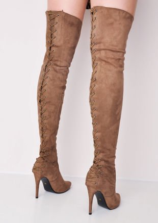 0014b4c4e Over The Knee Thigh High Faux Suede Lace Up Back Block Heel Long Boots Brown