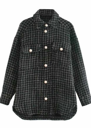 Oversized Tweed Plaid Shacket Shirt Jacket Black