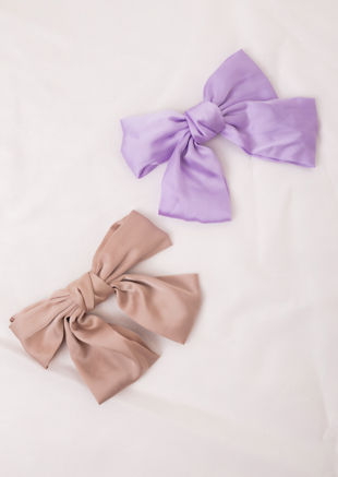 Oversize Satin Ribbon Bow Hair Pin Beige