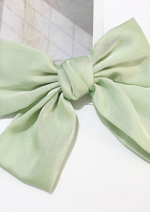 Oversize Satin Ribbon Bow Hair Pin Green