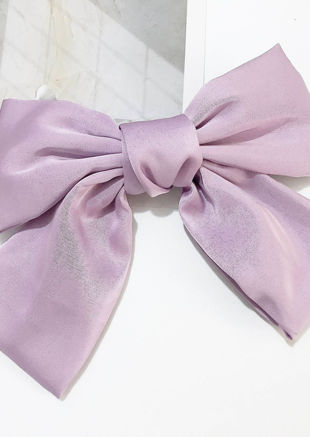 Oversize Silk Ribbon Hair Pin Purple