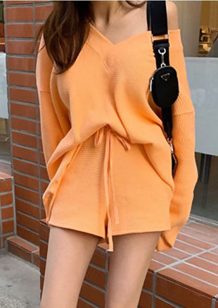 Oversize V Neck Jumper And Shorts Co-Ord Set Orange