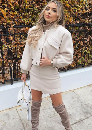 Oversized Asymmetrical Cropped Bomber Jacket Mini Skirt Co Ord Set Beige