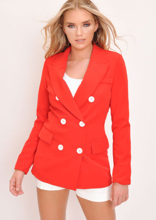 Oversized Boyfriend Blazer Jacket Red
