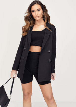 Oversized Boyfriend Double Breasted Blazer Black