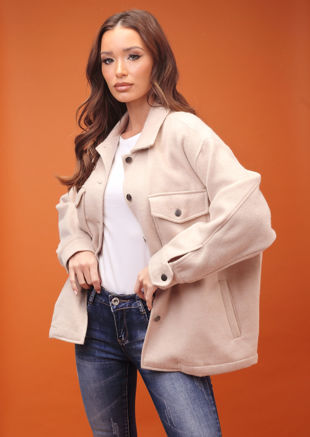 Oversized Brushed Utility Shirt Jacket Beige