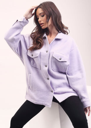 Oversized Brushed Utility Shirt Jacket Purple