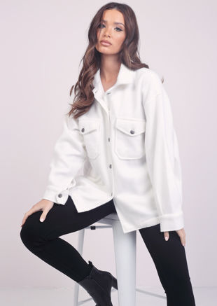 Oversized Brushed Utility Shirt Jacket White