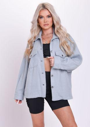 Oversized Brushed Utility Shirt Jacket Grey